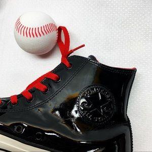 Converse Men Black Patent Leather Chucks Size 9.5